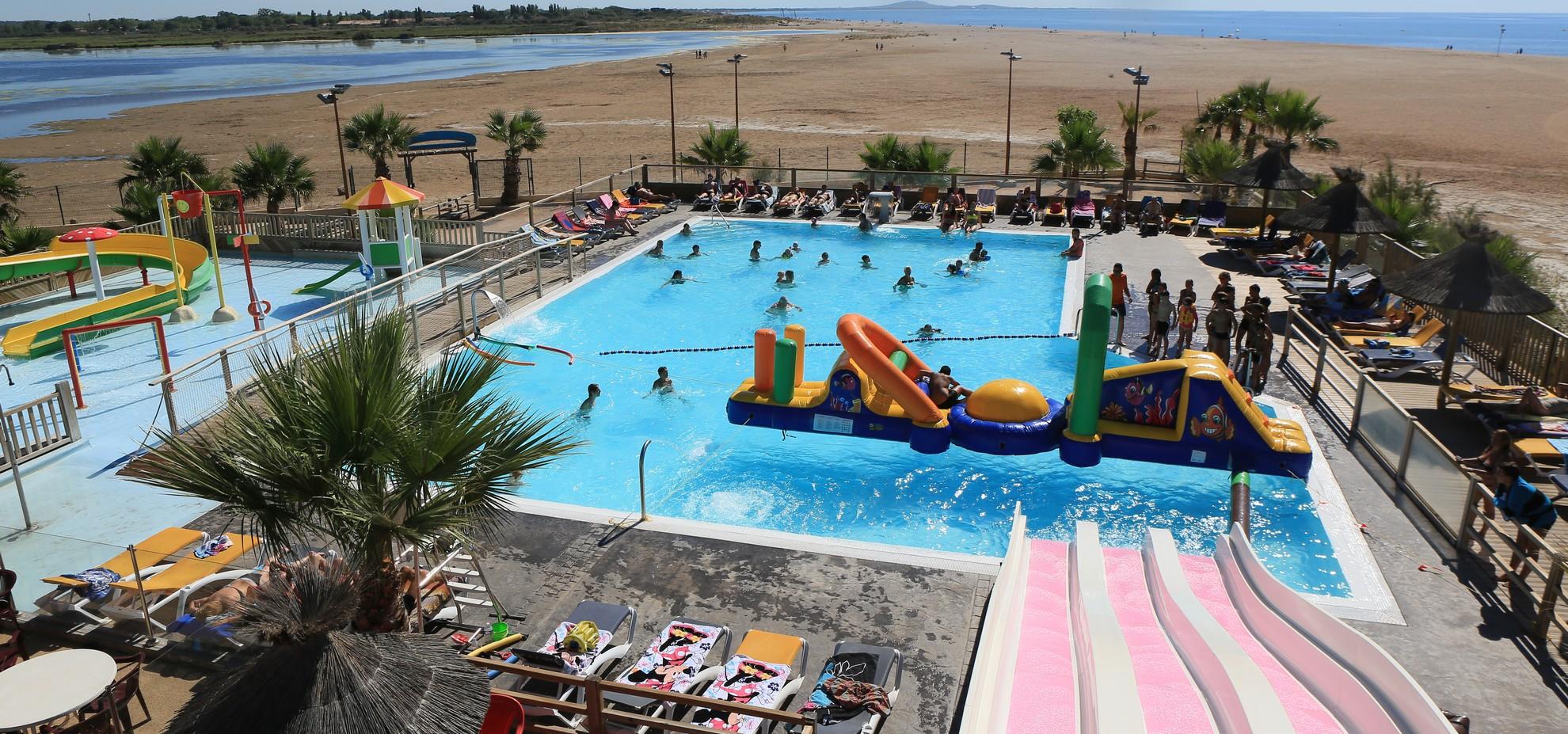 Le camping bleu marine s rignan plage sud france for Camping sud france avec piscine